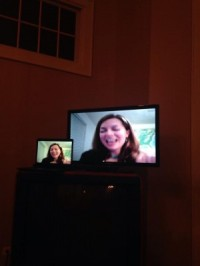 Here's my giant head creepily coming into someone's house via their big screen television.